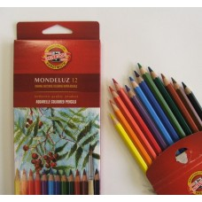Water Soluble coloured pencils from Koh-i-Noor. Soft and blendable. - Aquarell Coloured pencils - Box of 12 mixed colours