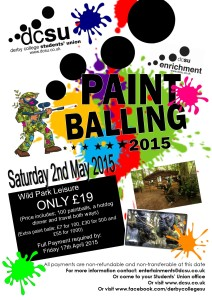 Paintballing POSTER - Sat 2nd May 15